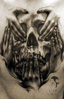hear no evil see no evil tattoo designs men Car Tuning Evil Skull Tattoo, Evil Tattoos, Skeleton Tattoos, Demon Tattoo, Badass Tattoos, Skull Tattoos, Body Art Tattoos, Key Tattoos, Foot Tattoos