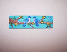 Folk Art Bird Robin Painting on a branch with flowers and