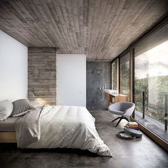 The natural materials such as wood and concrete being used for ceilings and wall panels in this bedroom create the ideal winter bedroom. Read more at: https://nyde.co.uk/blog/winter-decorating-ideas/