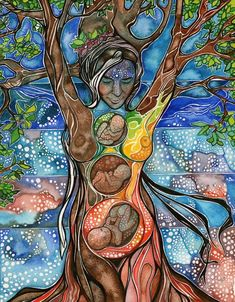 Tree Of Life Wood Print featuring the painting Tree Of Life - Cha Wakan by Tamara Phillips Psychedelic Art, Fantasy Kunst, Fantasy Art, Mother Earth, Mother Nature, Tree Of Life Painting, Tree Of Life Artwork, Nature Artwork, Birth Art
