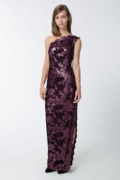Lace One Shoulder Gown in Auburn - Evening Gowns - Evening Shop | Tadashi Shoji