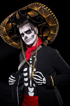 Image result for sugar skull makeup half face for men