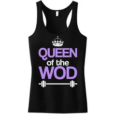 Large Queen of the Wod Workout Tank Workout Clothes Workout Tanks Gym... (18 AUD) ❤ liked on Polyvore featuring activewear, activewear tops, dark olive, tanks, tops and women's clothing
