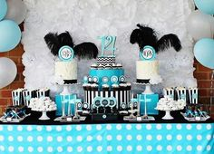 Teen party idea party food sweets cake black feathers teal teen decorations dots dessert table while