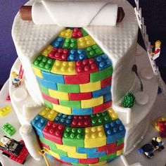Awesome geeky wedding cake that looks like it was made out of Legos