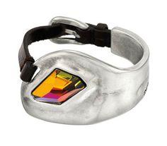Uno de 50 Leather & Silver Cuff Bracelet with Swarovski Crystal #FlauntRI