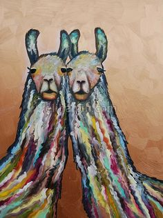 Snuggling Woolly Llamas in Metallic Copper an original oil painting by Eli Halpin