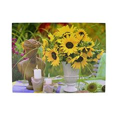LED Lighted Flickering Garden Candles and Sunflower Vase Canvas Wall Art 1175 x 1575 -- Check this awesome product by going to the link at the image.