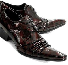 Cool Men Black Patent Leather High Heel Pointy Hipster Dress Shoes ...