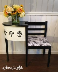 Refinished Vintage Telephone Bench Gossip Bench. Sprayed in Satin black  Cottage white chalk paint and stencil Reupholstered with Wavery fabric.