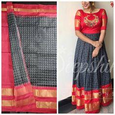 Kerala Saree Blouse Designs, Wedding Saree Blouse Designs, Half Saree Designs, Fancy Blouse Designs, Kurti Designs Party Wear, Long Gown Dress, Long Frock, Long Gown Design, Kalamkari Dresses