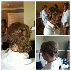 Fun, off to the side updo for short hair. Angles bob updo. Braid and curls
