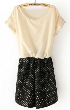 Beige Short Sleeve Heart Print Bandeau Dress US$29.35