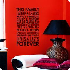 "This Family (Tall Version) (wall decal from WallWritten.com). 17x28.5"" version in either Black or Chocolate for Living Room"