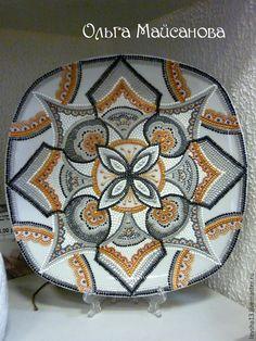 Купить Тарелка с росписью Геометрия - тарелка, Тарелка декоративная, тарелка сувенирная, тарелка с росписью