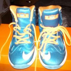 Boys Lebrons Aqua Blue and Orange Lebrons sneakers in exc.cond. just. In time for school Nike Shoes