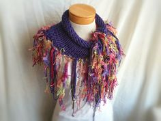 knit  triangle cotton  scarf long soft  fluffy by 910woolgathering, $28.00