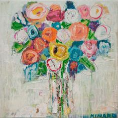 Christy Kinard, a southern mixed media artist, creates rich floral compositions and impressions of Southern life and it's cultural traditions. Mixed Media Painting, Mixed Media Canvas, Colorful Paintings, Floral Paintings, Fruit Painting, Acrylic Flowers, Whimsical Art, Art And Architecture, All Art