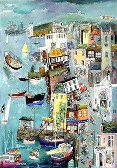 """""""Falmouth Town"""" Original Painting by Serena, Cornish Naive Artist. Available as open edition prints and blank art-cards. Falmouth Town, Falmouth Cornwall, Naive Art, Urban Sketching, Illustrations And Posters, Anime Comics, Artist Painting, Urban Art, Collage Art"""