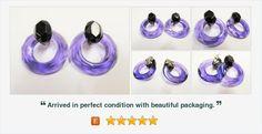 #Vintage Earrings #PurpleandBlack Circle Clip on Earrings #gotvintage #etsygifts #jewelry