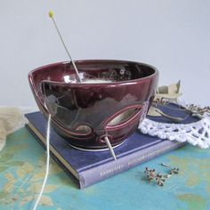 Ceramic Yarn Bowl, Eggplant Purple, Amethyst Lavender Blush, leaf Yarn Holder, Crochet Portable KNITTING, BlueRoomPottery IN STOCK