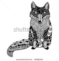 Zentangle Fox - stock vector