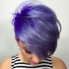 29 Trendsetting Purple Hair Color Ideas for Short Hair for a Chic Look - Short Pixie Cuts Short Purple Hair, Blue Purple Hair, Ombre Hair Color, Purple Pixie Cut, Purple Haze, Blue Ombre, Pastel Blue, Hair Colour, Pixie Hairstyles