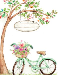 Bicycle with flowers illustration in watercolor Bicycle Painting, Bicycle Art, Bicycle Drawing, Happy Birthday Greetings, Birthday Wishes, Graffiti Kunst, Happy B Day, Birthday Images, Watercolor Paintings