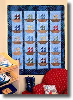 Quilt Inspiration: Free Pattern Day: SailboatsInto a Sea of Blue, designed by Jean Baker White for McCalls Quilting Free Baby Quilt Patterns, Heart Quilt Pattern, Beginner Quilt Patterns, Quilt Block Patterns, Quilt Blocks, Free Pattern, Quilt Baby, Sailboat Baby Quilt, Nautical Baby Quilt