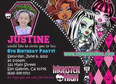 Monster High party ideas Photo Birthday Party Invitation