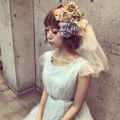 * * ロングヘアをボブ風にアレンジした ウェディングヘア♡ #ヘアアレンジ #ウェディング #fashion #コーデ
