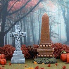 Tombstone Set #24 Miniature Halloween Village Graveyard for Dept 56 D56
