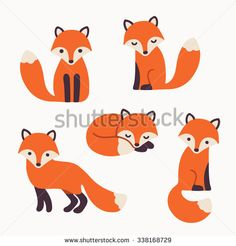 Set of cute cartoon foxes in modern simple flat style. Isolated vector illustration - stock vector