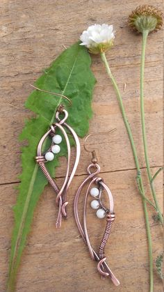 Wire wrapped fairy earrings with natural white Jade beads,Copper earrings,Wire…
