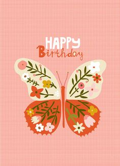 CARDS :: NEW! Happy Birthday Pink Butterfly - Ecojot - eco savvy paper products