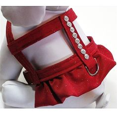 A sparkling red, ruffled dog harness for Christmas with a choke-free, easy-on design for toy and small dogs up to 44+ lb. Perfect for the Christmas Season and everyday wear.