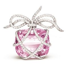 """""""Wrapped Heart"""" Brooch - Oval-faceted pink kunzite, diamond and platinum, by Verdura"""