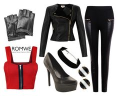 """""""Romwe Leather Black Pants"""" by chinesedragon88 ❤ liked on Polyvore featuring mode, WearAll, Temperley London, Jessica Simpson, Karl Lagerfeld, Kate Spade, women's clothing, women, female et woman"""