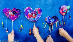 Patchwork Heart Puppets for Valentine's Day