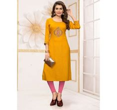 Yellow Colored Beautiful Embroidered Straight Rayon Kurti