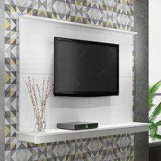 Painel para TV Branco RP 07-06 - com Prateleira - em MDP - 135x96,5 cm