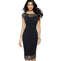 Lace Bodycon Women Wear Work Dress Sleeveless Black Red c5ca08caf78b