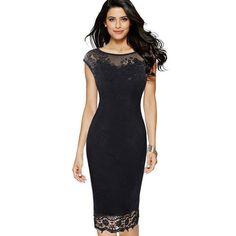 a0e578fe4ba Lace Bodycon Women Wear Work Dress Sleeveless Black Red