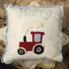 Personalised Handmade Tractor Crochet Cushion- Baby/Child Newborn, Christening, Birthday. $56.00, via Etsy.