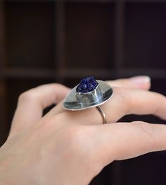 Blue dropazurite crystal ring in sterling silver by LaurelsBench