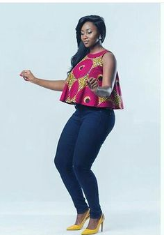 Latest Stylish Ankara Peplum Tops 2018 The Latest Ankara Tops With Jeans Style African Dresses For Women, African Print Dresses, African Attire, African Fashion Dresses, African Wear, African Women, African Prints, Ankara Fashion, African Style