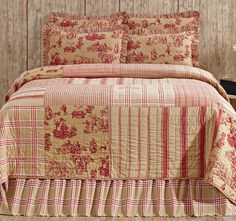 Elaine Rouge Patchwork Quilt Set from Teton Timberline Trading Company: http://tetontimberlinetrading.com/product/elaine-rouge-patchwork-toile-collection/. Featured in Country Sampler's November 2016 issue: https://www.samplermagazines.com/detail.html?prod_id=202&cat_id=8&source=PIN-FB101016.