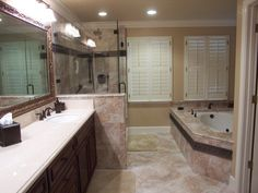 Bathroom: Appealing Small Bathroom Remodels With Bathroom Mirror Shower With Lights Have Bathroom Vanity With Sink Brushed Nickel Faucets Round Wall Mirror from 4 Recommended Ideas for Small Bathroom Remodels