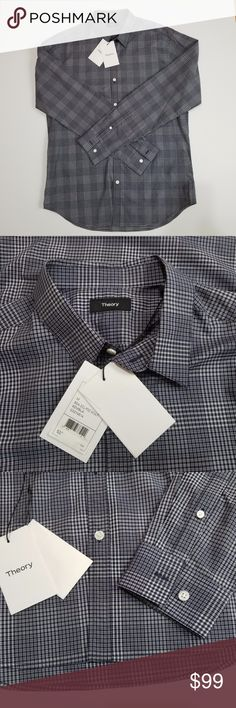 """NWOT Theory Men's Trim Fit Plaid Shirt Size M NWOT Theory 'Zack Kembla' Trim Fit Plaid Sport Shirt Size M MSRP $225 A sharp plaid design adds to the dapper look of a slim-tailored long-sleeve sport shirt crafted in soft Italian cotton with a crisp spread collar. .Spread collar. Long sleeves with adjustable button cuffs. Back yoke. Curved hem.  Material: 100% cotton Measurement laying flat - Approx Armpit to armpit: 22"""" Sleeve: Armpit to cup 21""""  Shoulder to cup 26"""" Length: 30.5"""" Shoulder…"""