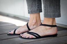 10% Sale, Elle, Black Braided Leather Sandals, Black Sandals, Flat Summer Shoes, Minimal Open Sandals